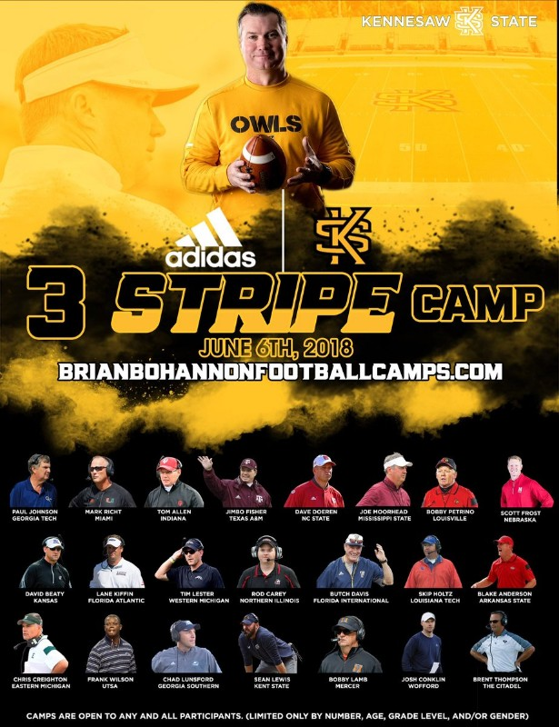 Brian Bohannon/Kennesaw State Adidas 3 Stripe Camp