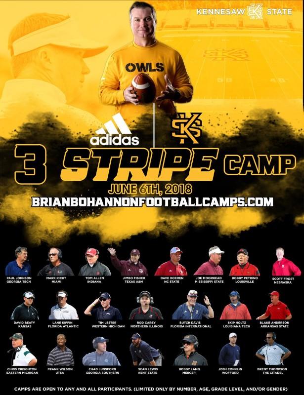 Brian Bohannon/Kennesaw State Adidas 3 Stripe Camp